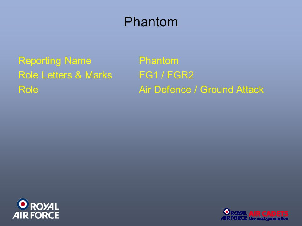 Phantom Reporting NamePhantom Role Letters & Marks FG1 / FGR2 RoleAir Defence / Ground Attack