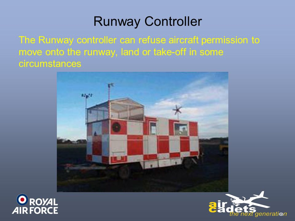Runway Controller The Runway controller can refuse aircraft permission to move onto the runway, land or take-off in some circumstances
