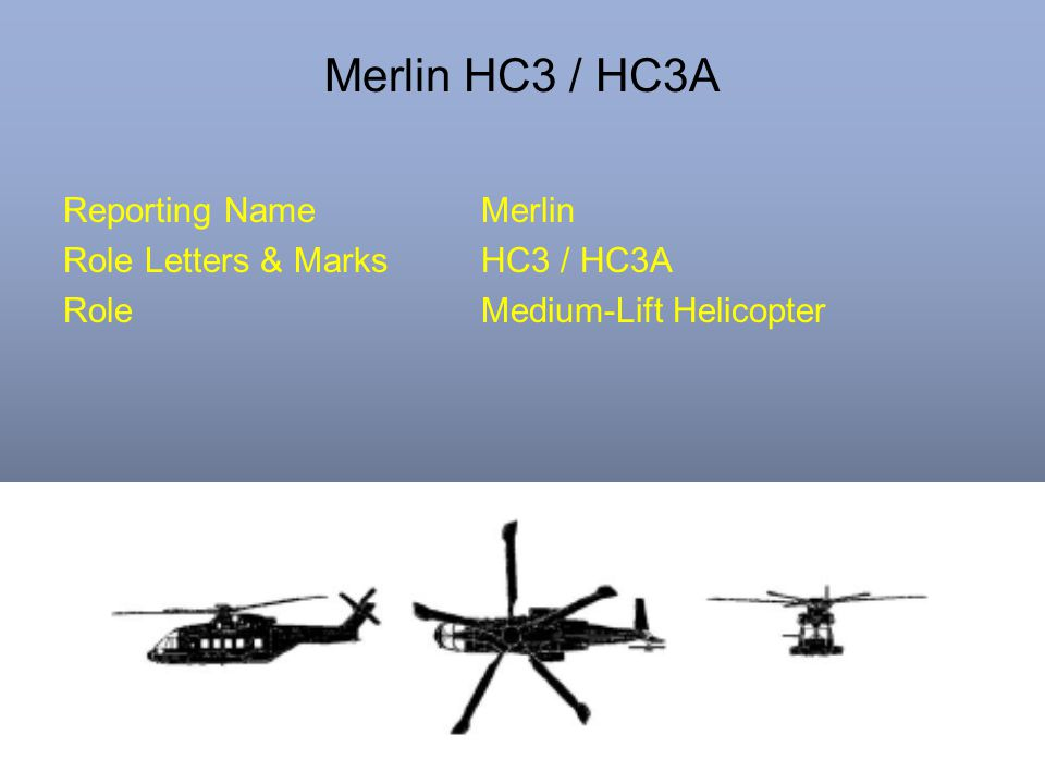 Merlin HC3 / HC3A Reporting NameMerlin Role Letters & MarksHC3 / HC3A RoleMedium-Lift Helicopter