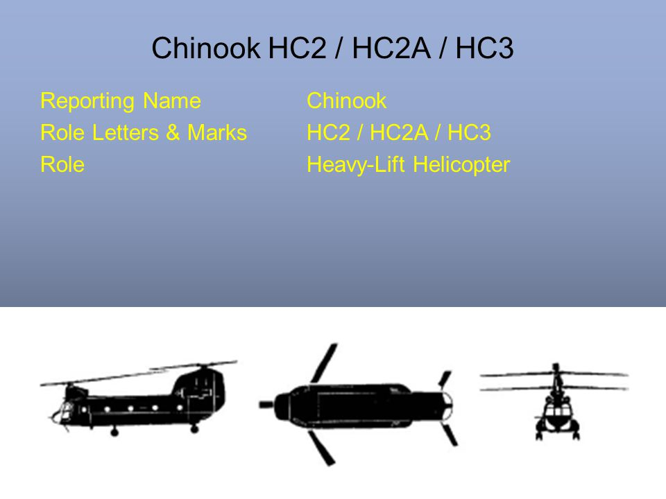 Chinook HC2 / HC2A / HC3 Reporting NameChinook Role Letters & MarksHC2 / HC2A / HC3 RoleHeavy-Lift Helicopter