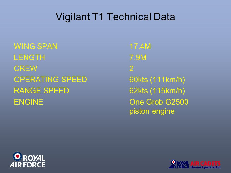 Vigilant T1 Technical Data WING SPAN 17.4M LENGTH 7.9M CREW 2 OPERATING SPEED 60kts (111km/h) RANGE SPEED 62kts (115km/h) ENGINE One Grob G2500 piston engine