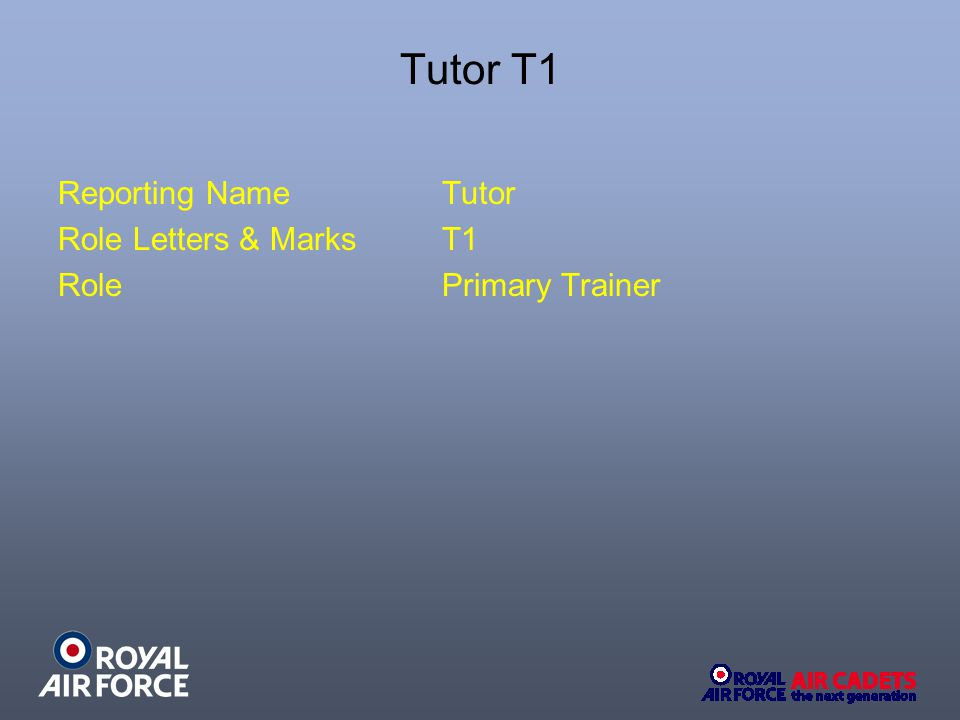Tutor T1 Reporting NameTutor Role Letters & MarksT1 RolePrimary Trainer