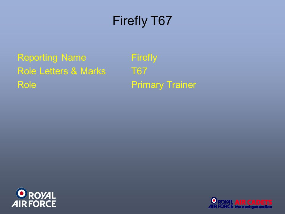 Firefly T67 Reporting NameFirefly Role Letters & MarksT67 RolePrimary Trainer