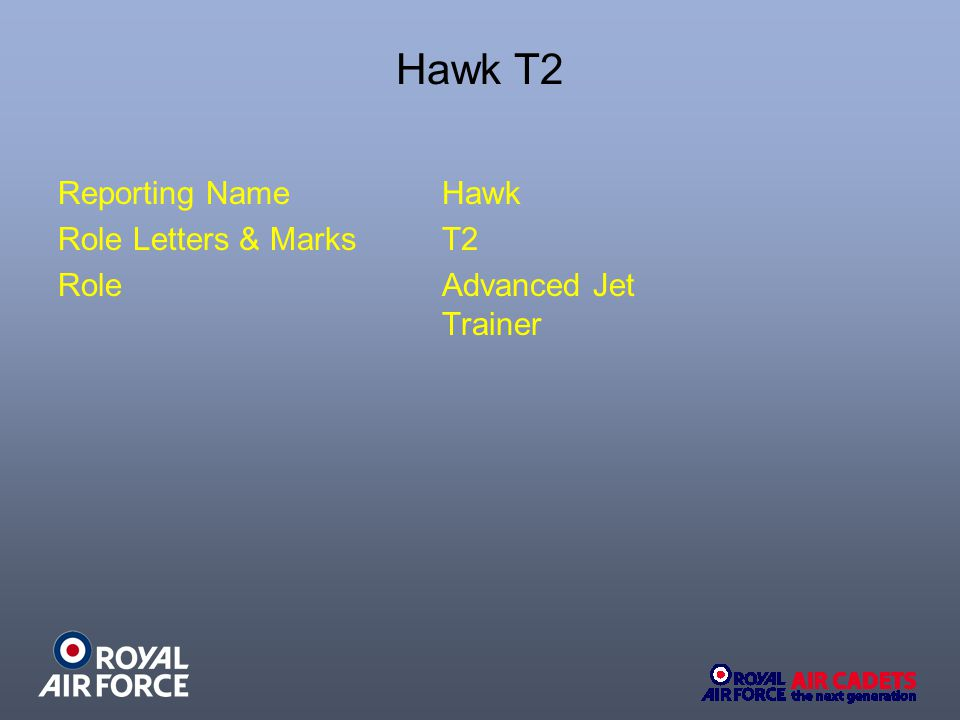Hawk T2 Reporting NameHawk Role Letters & MarksT2 RoleAdvanced Jet Trainer