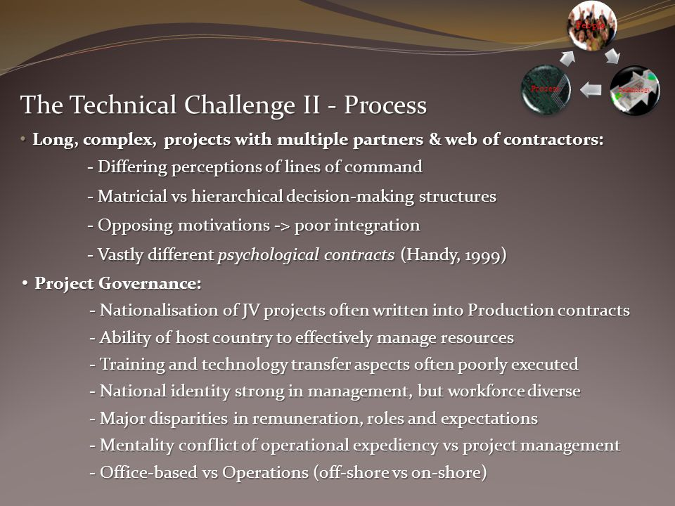 The Technical Challenge II - Process Project Governance: Project Governance: - Nationalisation of JV projects often written into Production contracts