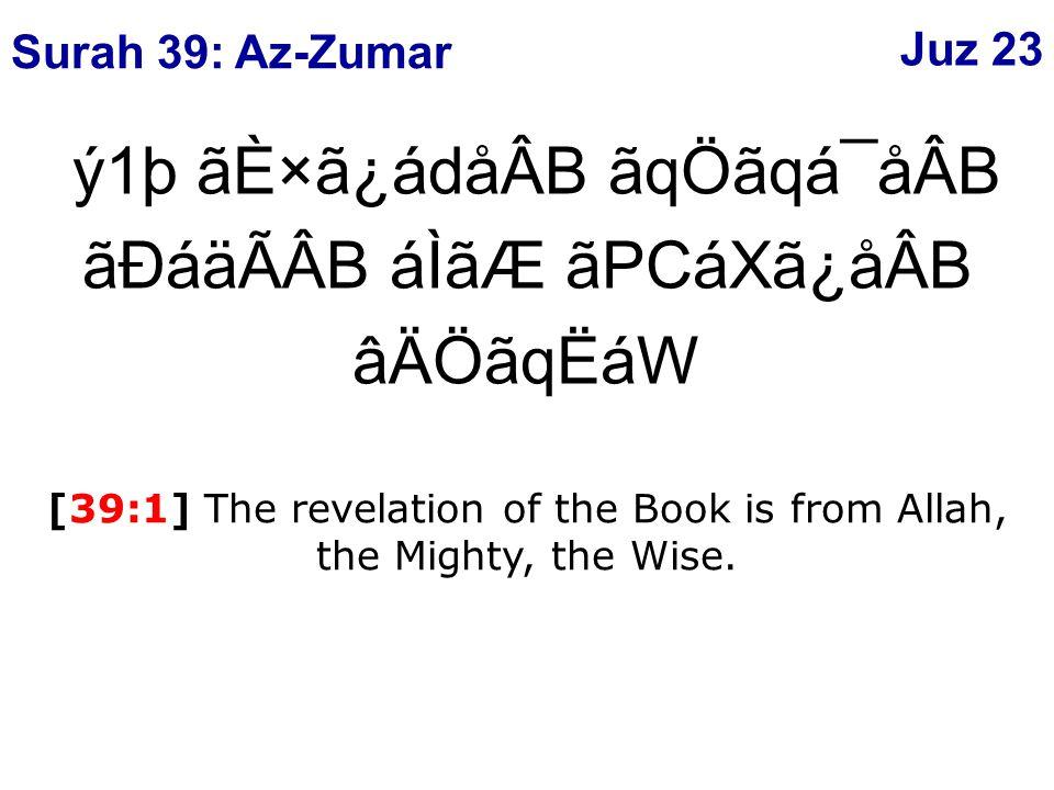 ý62þ çÄ×ã¾áÑ èAåØáw ãäÄâ¾ ÔáÃá® áÒâÎáÑ èAåØáw ãäÄâ¾ â¼ãÂCág âÐáäÃÂB [39:62] Allah is the Creator of every thing and He has charge over every thing.
