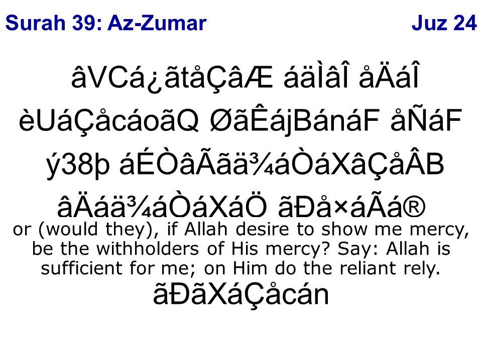âVCá¿ãtåÇâÆ áäÌâÎ åÄáÎ èUáÇåcáoãQ ØãÊájBánáF åÑáF ý38þ áÉÒâÃãä¾áÒáXâÇåÂB âÄáä¾áÒáXáÖ ãÐå×áÃá® âÐáäÃÂB áØãRåtác åÄ⺠ãÐãXáÇåcán or (would they), if Allah desire to show me mercy, be the withholders of His mercy.