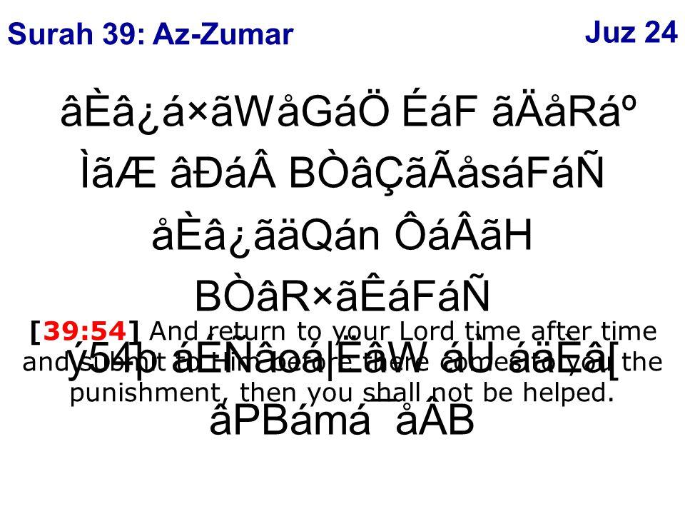 âÈâ¿á×ãWåGáÖ ÉáF ãÄåRẠÌãÆ âÐáBÒâÇãÃåsáFáÑ åÈâ¿ãäQán ÔáÂãH BÒâR×ãÊáFáÑ ý54þ áÉÑâoá|ËâW áÙ áäÈâ[ âPBámá¯åÂB [39:54] And return to your Lord time after time and submit to Him before there comes to you the punishment, then you shall not be helped.