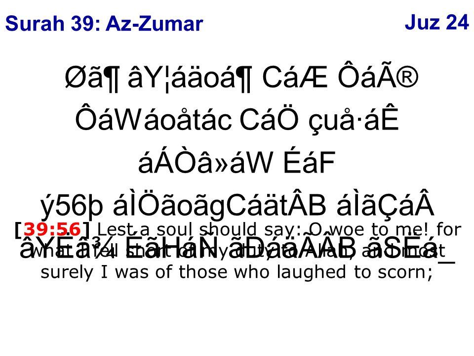 Ø㶠âY¦áäoᶠCáÆ Ôáî ÔáWáoåtác CáÖ çuå·áÊ áÁÒâ»áW ÉáF ý56þ áÌÖãoãgCáätÂB áÌãÇáâYËâ¾ ÉãHáÑ ãÐáäÃÂB ãSËá_ [39:56] Lest a soul should say: O woe to me.