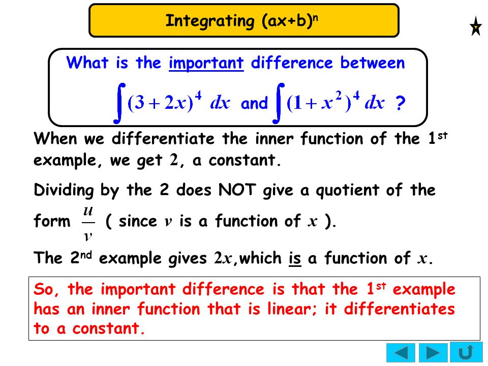 Integrating (ax+b) n What is the important difference between and ? When we differentiate the inner function of the 1 st example, we get 2, a constant