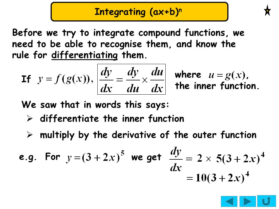 Integrating (ax+b) n Before we try to integrate compound functions, we need to be able to recognise them, and know the rule for differentiating them.