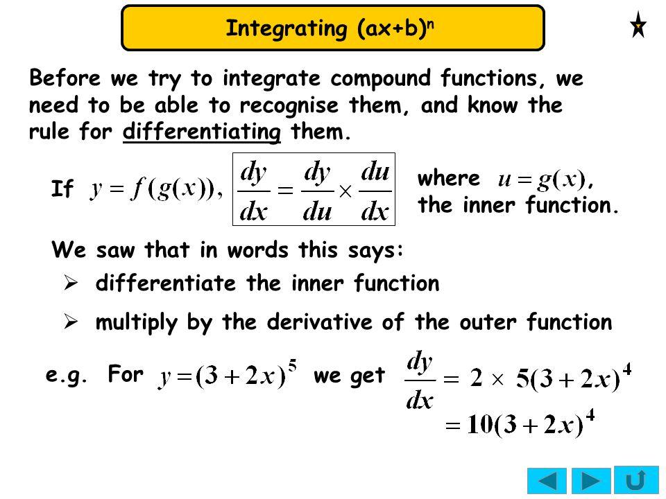 Integrating (ax+b) n 2. 4.