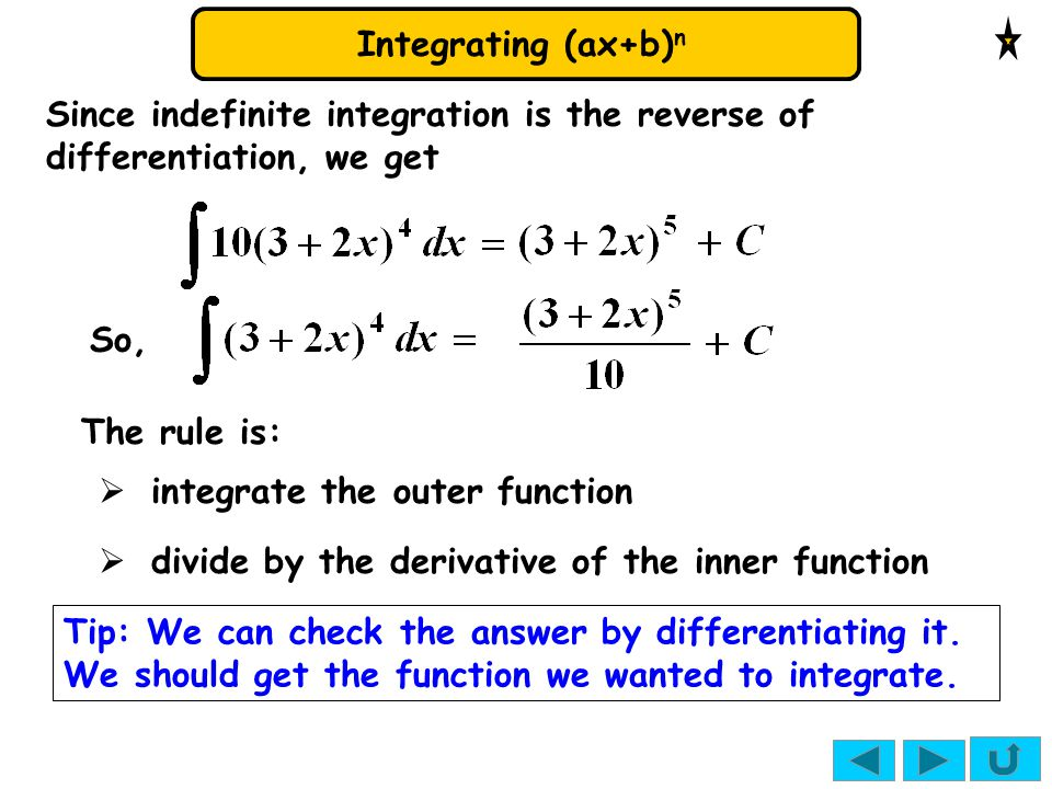 Integrating (ax+b) n  divide by the derivative of the inner function Since indefinite integration is the reverse of differentiation, we get  integra