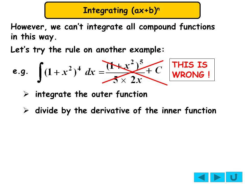 Integrating (ax+b) n However, we can't integrate all compound functions in this way.
