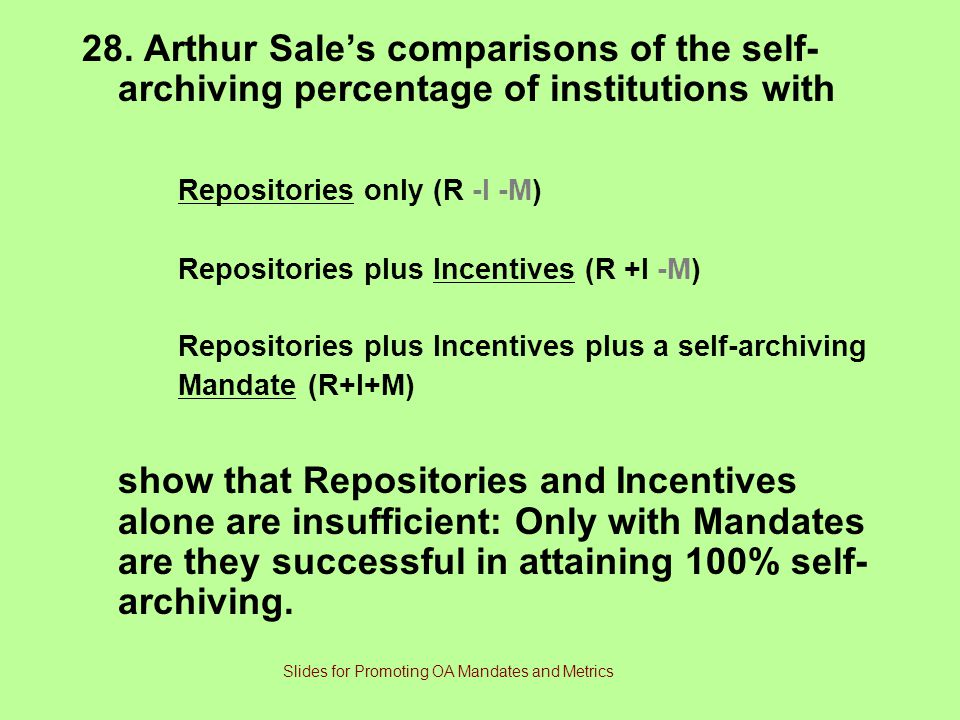 28. Arthur Sale's comparisons of the self- archiving percentage of institutions with Repositories only (R -I -M) Repositories plus Incentives (R +I -M