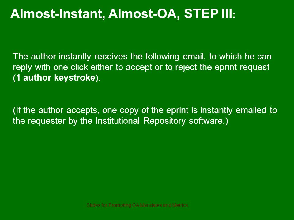 The author instantly receives the following email, to which he can reply with one click either to accept or to reject the eprint request (1 author keystroke).