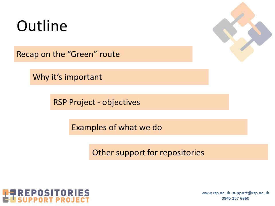 "www.rsp.ac.uk support@rsp.ac.uk 0845 257 6860 Outline Recap on the ""Green"" route Why it's important RSP Project - objectives Examples of what we do Ot"
