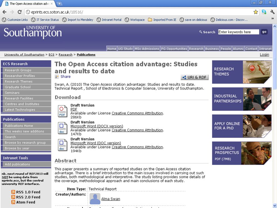 www.rsp.ac.uk support@rsp.ac.uk 0845 257 6860 Open access can increase your citations Key Perspectives Ltd