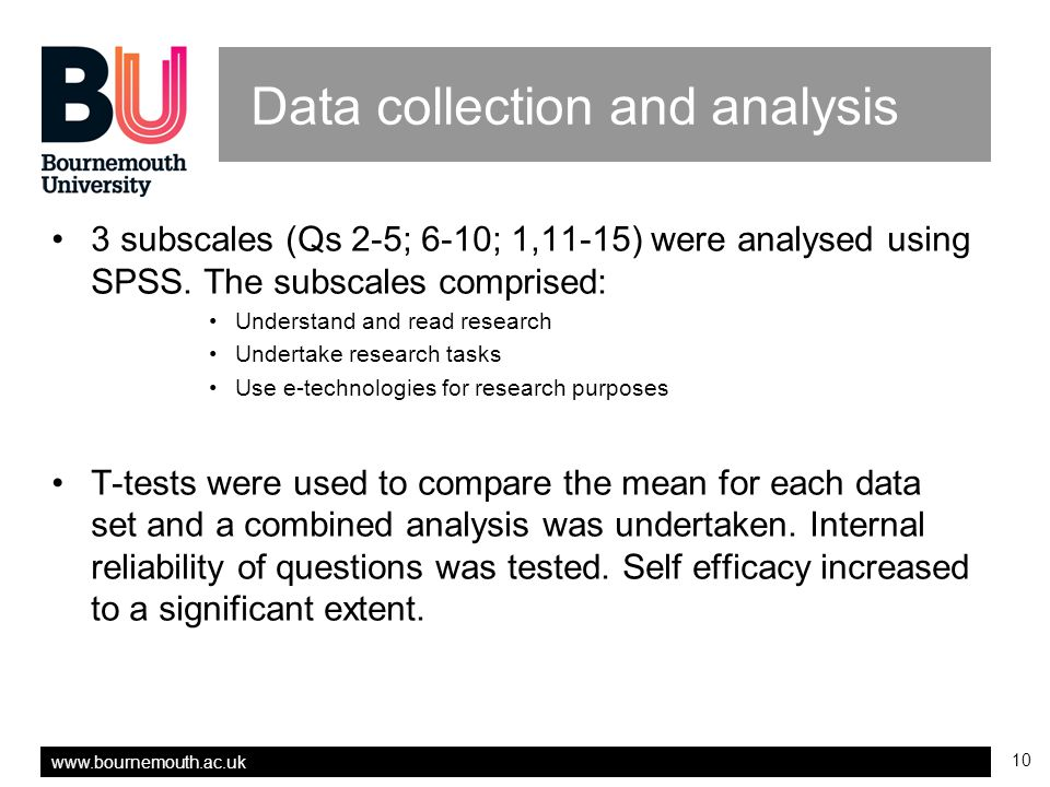 www.bournemouth.ac.uk 10 Data collection and analysis 3 subscales (Qs 2-5; 6-10; 1,11-15) were analysed using SPSS.