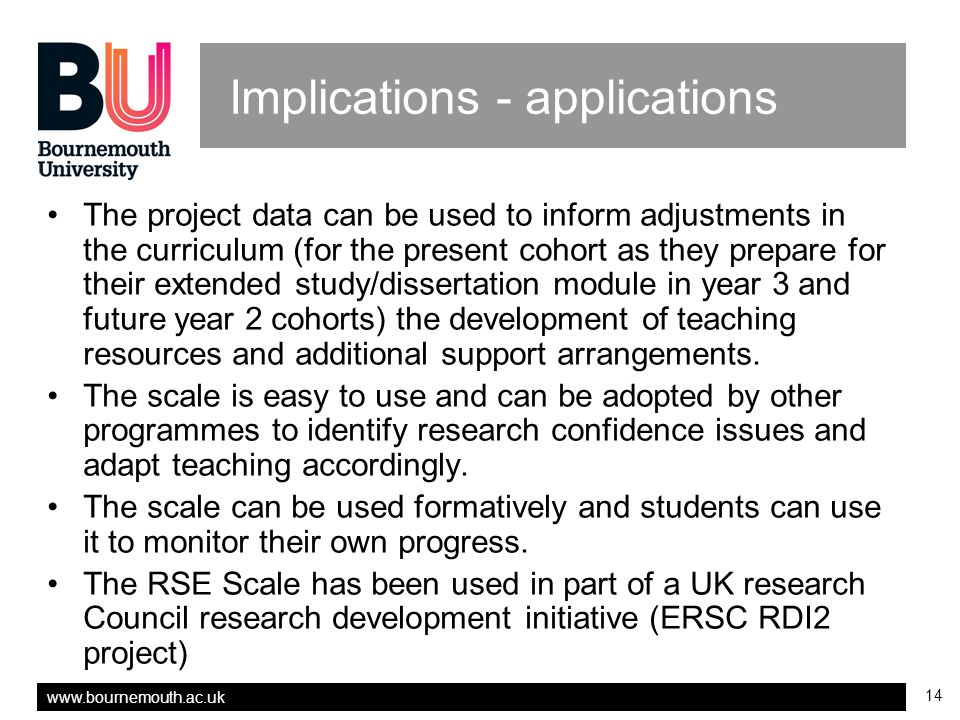 www.bournemouth.ac.uk 14 Implications - applications The project data can be used to inform adjustments in the curriculum (for the present cohort as they prepare for their extended study/dissertation module in year 3 and future year 2 cohorts) the development of teaching resources and additional support arrangements.