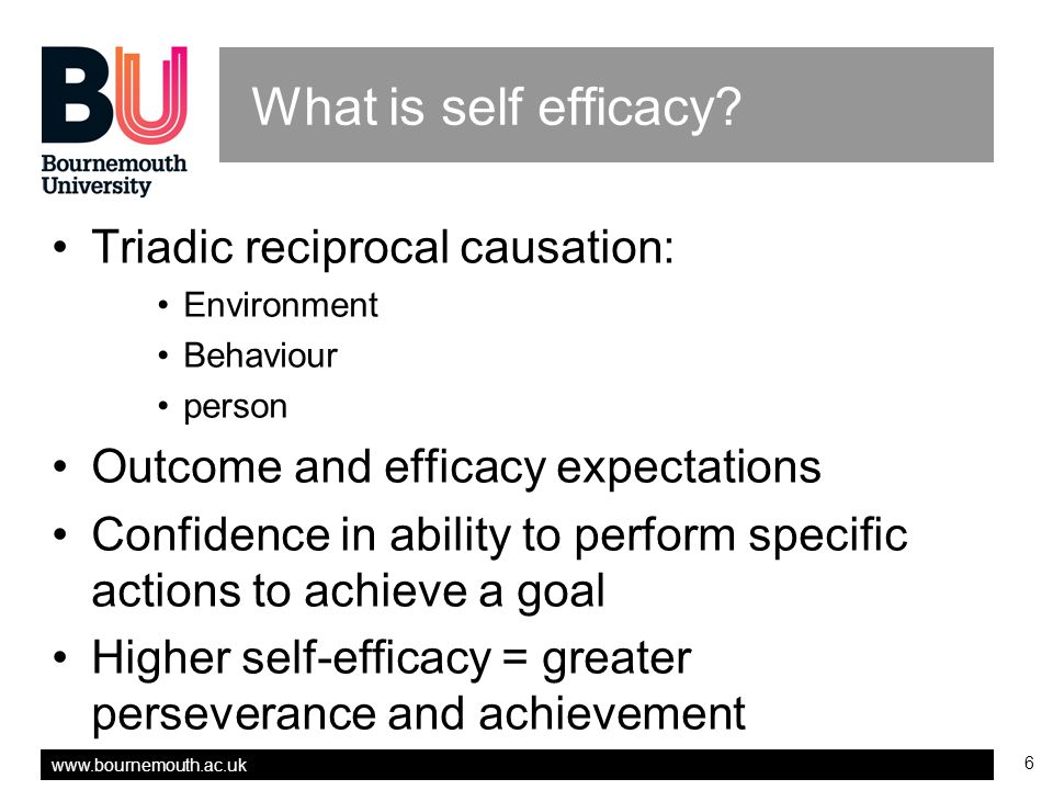 www.bournemouth.ac.uk 7 Self efficacy in research training While professional and academic expectations are that students integrate research into their practice frameworks…it is not at all clear to what degree students….are learning research skills Unrau and Beck(2004 p188).