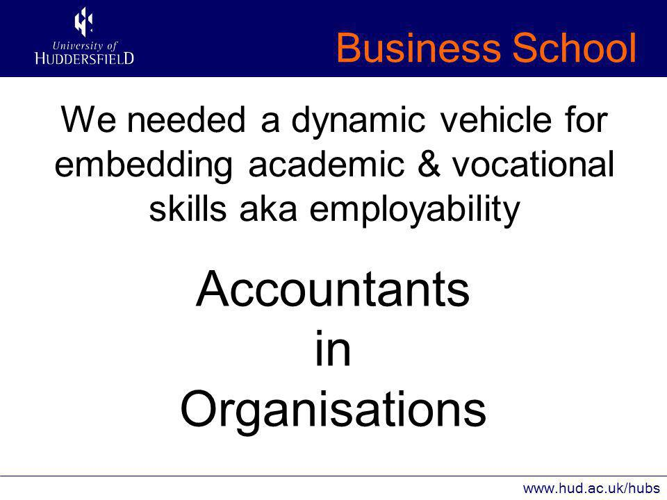 Business School www.hud.ac.uk/hubs We needed a dynamic vehicle for embedding academic & vocational skills aka employability Accountants in Organisations