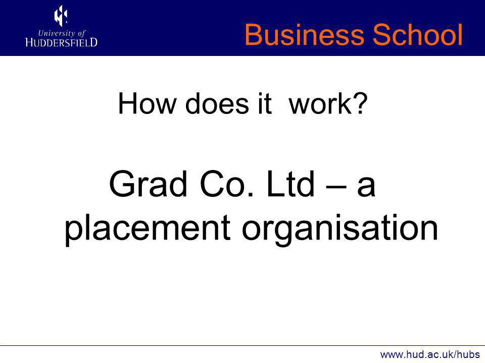 Business School www.hud.ac.uk/hubs How does it work Grad Co. Ltd – a placement organisation