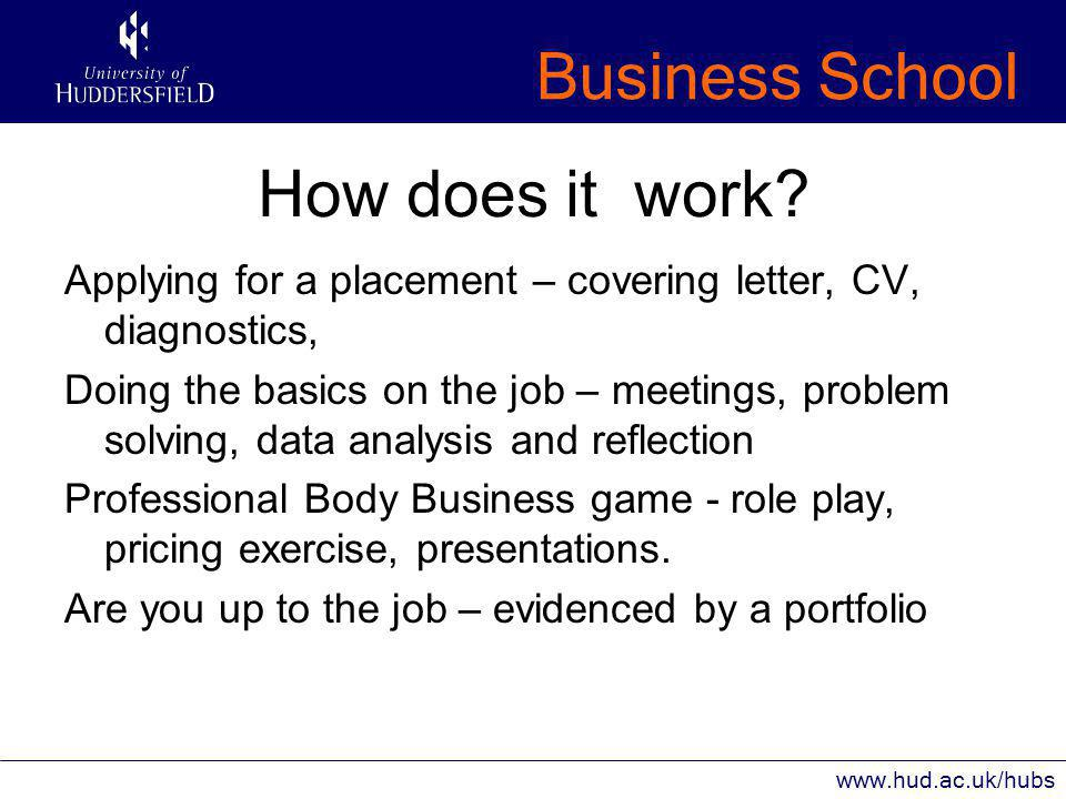 Business School www.hud.ac.uk/hubs How does it work.