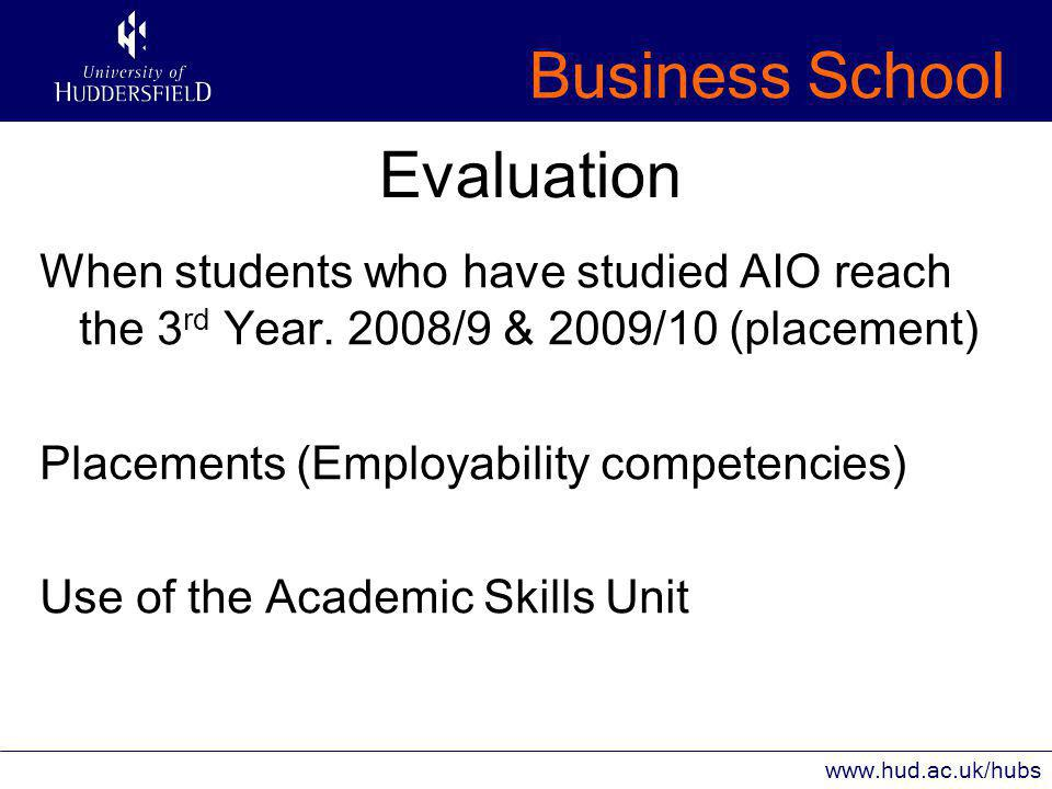 Business School www.hud.ac.uk/hubs Evaluation When students who have studied AIO reach the 3 rd Year.