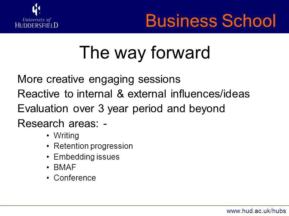Business School www.hud.ac.uk/hubs The way forward More creative engaging sessions Reactive to internal & external influences/ideas Evaluation over 3 year period and beyond Research areas: - Writing Retention progression Embedding issues BMAF Conference