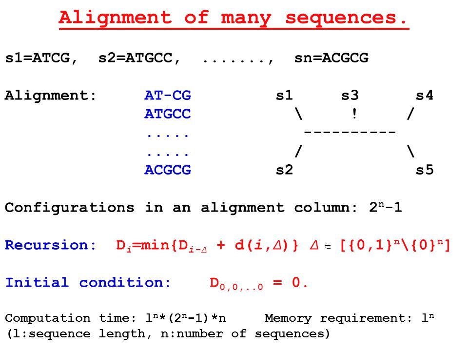 Alignment of many sequences.