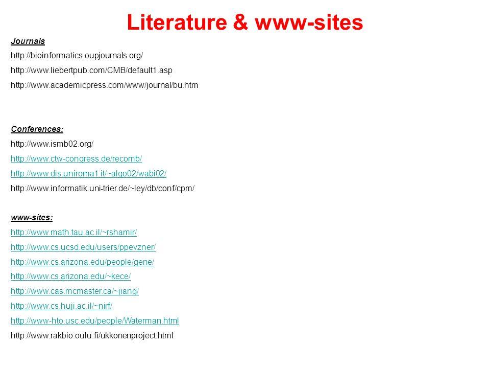 Literature & www-sites Journals http://bioinformatics.oupjournals.org/ http://www.liebertpub.com/CMB/default1.asp http://www.academicpress.com/www/journal/bu.htm Conferences: http://www.ismb02.org/ http://www.ctw-congress.de/recomb/ http://www.dis.uniroma1.it/~algo02/wabi02/ http://www.informatik.uni-trier.de/~ley/db/conf/cpm/ www-sites: http://www.math.tau.ac.il/~rshamir/ http://www.cs.ucsd.edu/users/ppevzner/ http://www.cs.arizona.edu/people/gene/ http://www.cs.arizona.edu/~kece/ http://www.cas.mcmaster.ca/~jiang/ http://www.cs.huji.ac.il/~nirf/ http://www-hto.usc.edu/people/Waterman.html http://www.rakbio.oulu.fi/ukkonenproject.html