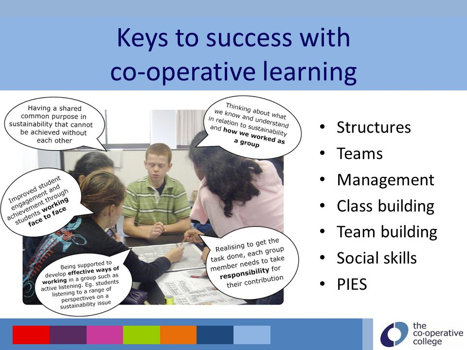 Structures Teams Management Class building Team building Social skills PIES Keys to success with co-operative learning
