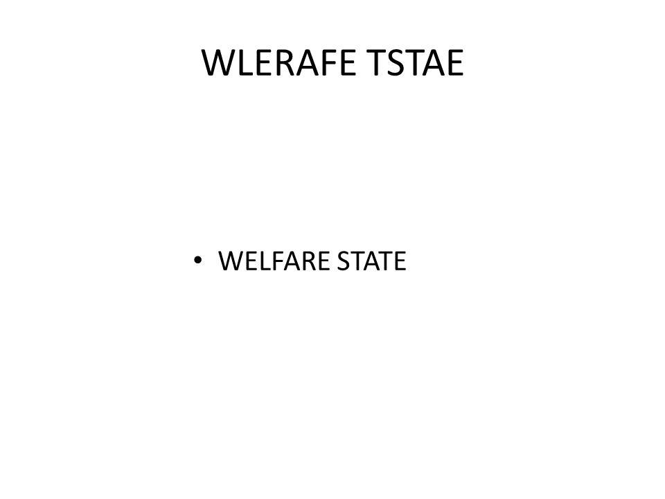 WLERAFE TSTAE WELFARE STATE