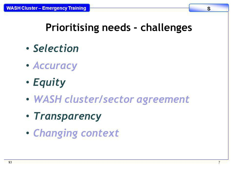 WASH Cluster – Emergency Training S Selection Accuracy Equity WASH cluster/sector agreement Transparency Changing context S3 7 Prioritising needs - challenges