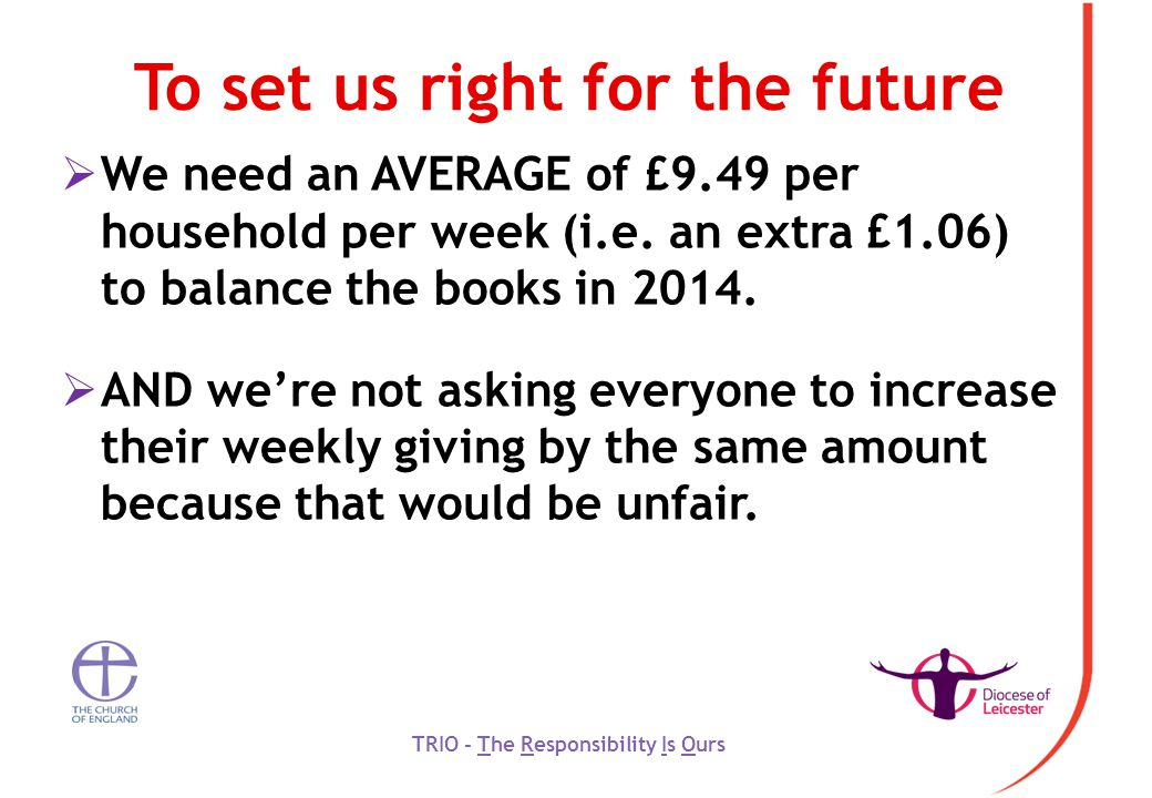 To set us right for the future  We need an AVERAGE of £9.49 per household per week (i.e.