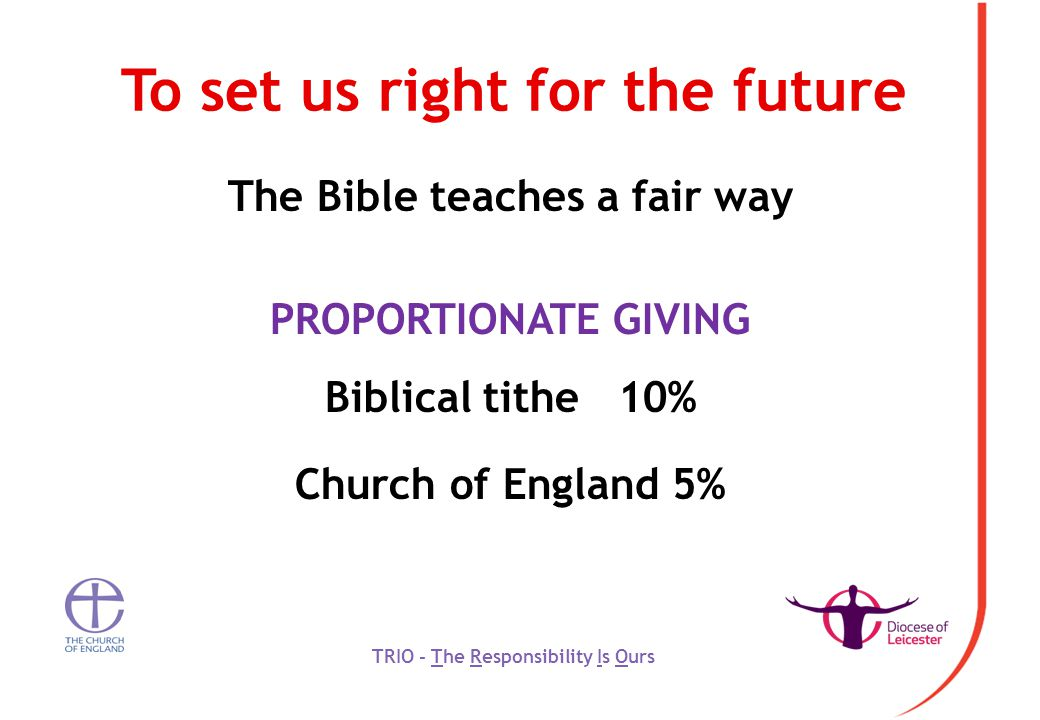 To set us right for the future The Bible teaches a fair way PROPORTIONATE GIVING Biblical tithe 10% Church of England 5% TRIO - The Responsibility Is Ours