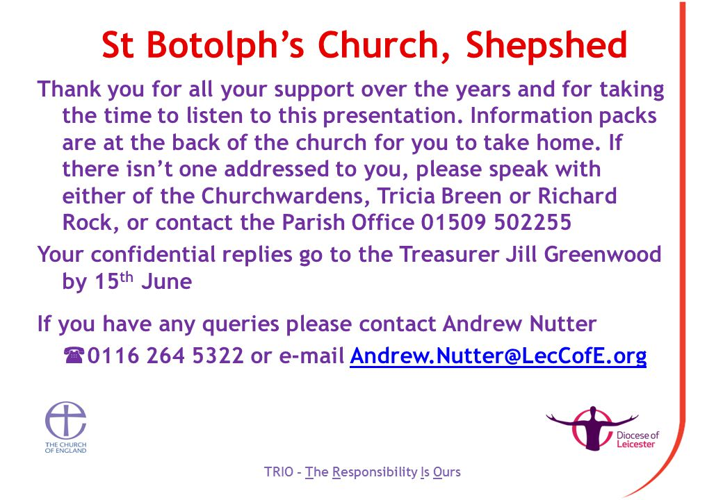 St Botolph's Church, Shepshed Thank you for all your support over the years and for taking the time to listen to this presentation.