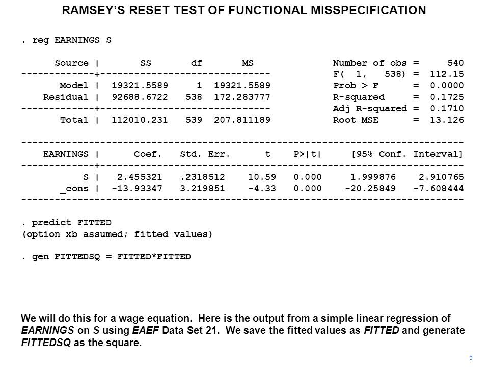 RAMSEY'S RESET TEST OF FUNCTIONAL MISSPECIFICATION 6 The coefficient of FITTEDSQ is significant at the 5 percent level and nearly at the 1 percent level, indicating that the addition of the square of S would improve the specification of the model.