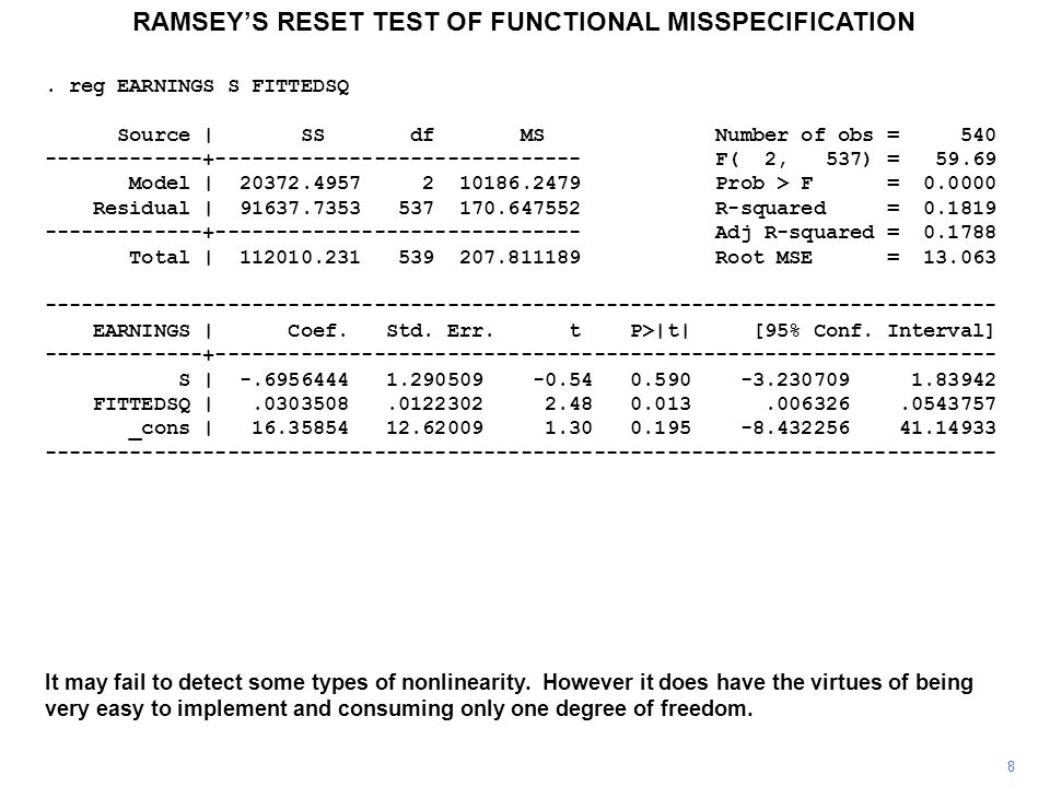 RAMSEY'S RESET TEST OF FUNCTIONAL MISSPECIFICATION 8 It may fail to detect some types of nonlinearity.