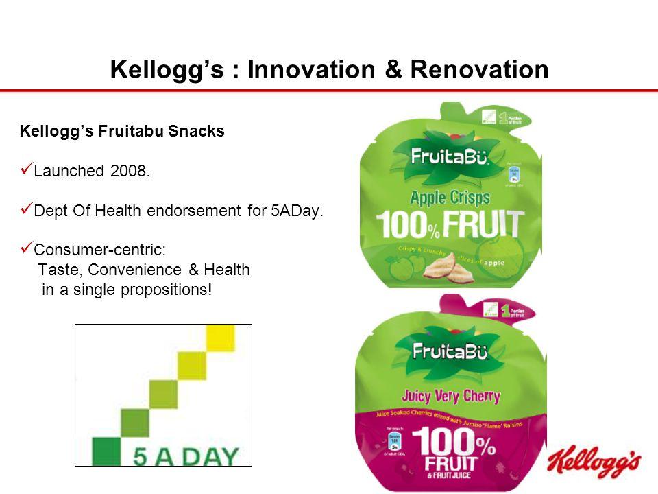 Kellogg's : Innovation & Renovation Kellogg's Fruitabu Snacks Launched 2008.