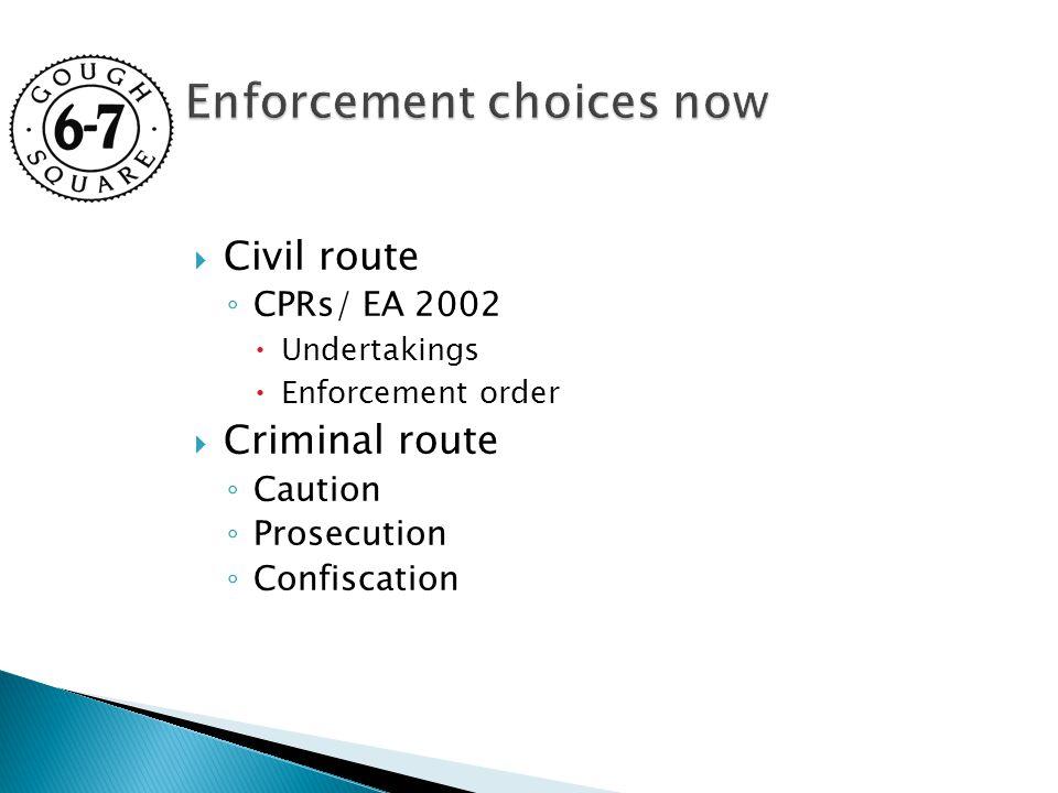  Civil route ◦ CPRs/ EA 2002  Undertakings  Enforcement order  Criminal route ◦ Caution ◦ Prosecution ◦ Confiscation