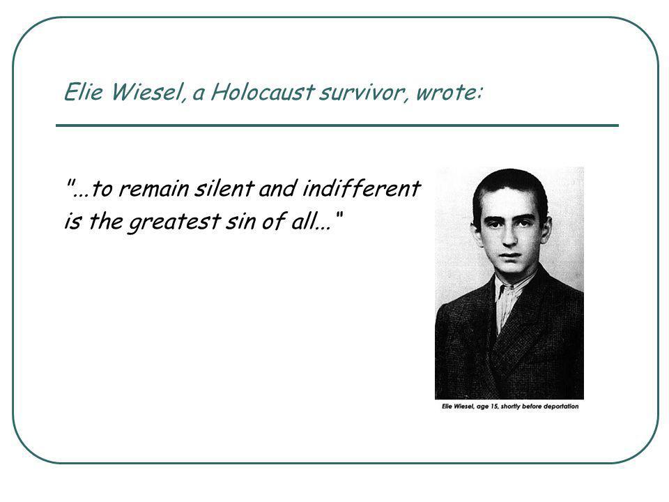 This year's Holocaust Memorial Day theme provides an opportunity to focus on: How inhumane humans can be towards each other; The danger for society and all people of persecuting and scapegoating individuals or groups because they are different; How courageous some people can be when faced with evil; How individuals who make and act upon moral choices did and can make a difference; The need for everyone to feel responsible to fight against evil; The power of the individual.