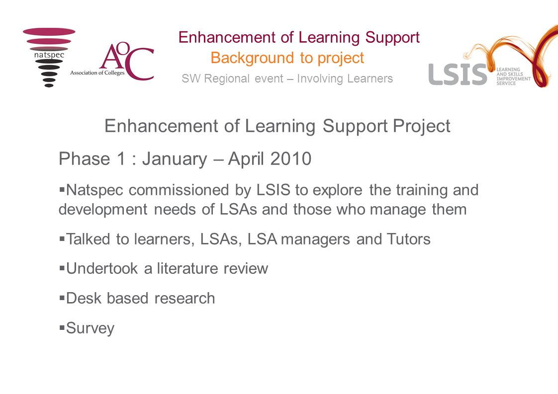 SW Regional event – Involving Learners Enhancement of Learning Support Background to project Terminology and Role  Project focussed on Learning Support as opposed to Learner Support  Changed project terminology from Learning Support Practitioner (NOS) to Learning Support Assistant (LSA) but in practice many titles used  Hugely important role but......