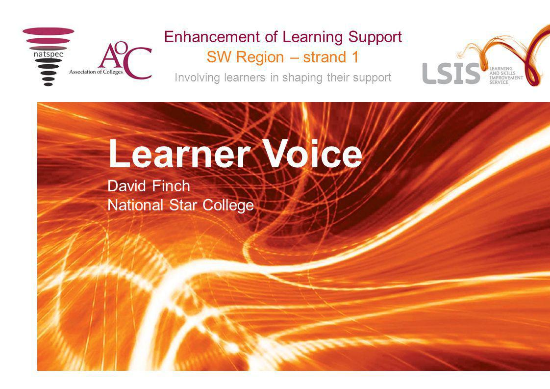 SW Region – strand 1 Involving learners in shaping their support Enhancement of Learning Support Learner Voice David Finch National Star College