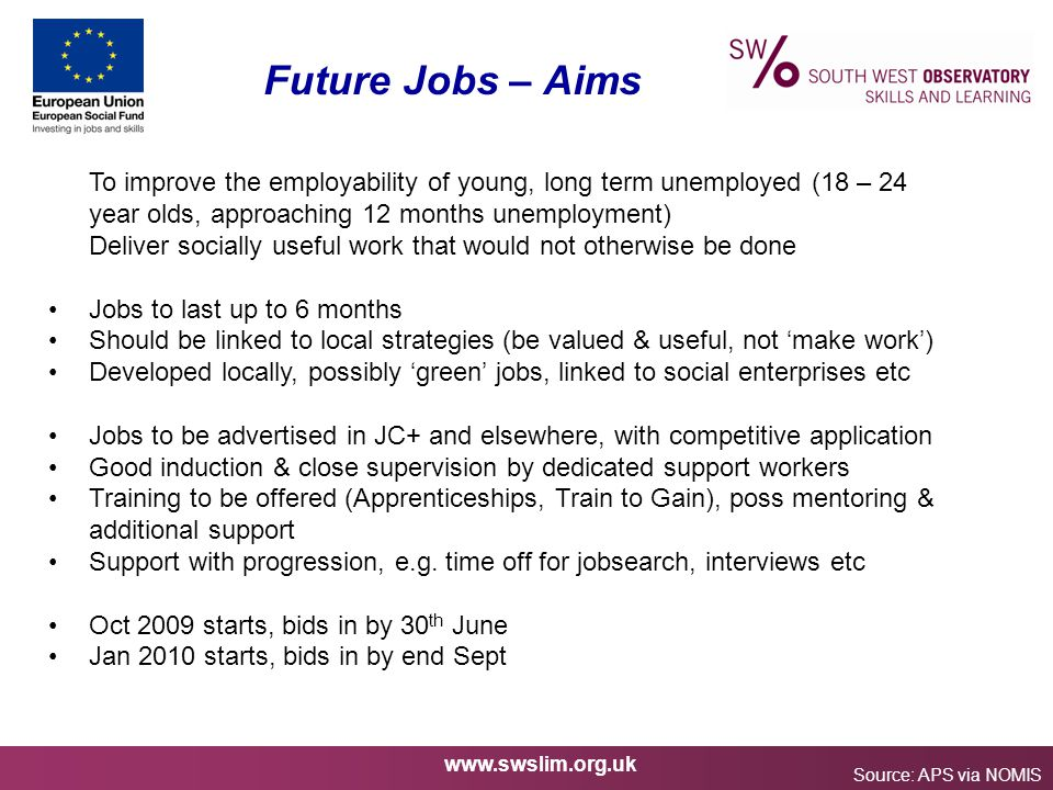 www.swslim.org.uk Future Jobs – Aims To improve the employability of young, long term unemployed (18 – 24 year olds, approaching 12 months unemployment) Deliver socially useful work that would not otherwise be done Jobs to last up to 6 months Should be linked to local strategies (be valued & useful, not 'make work') Developed locally, possibly 'green' jobs, linked to social enterprises etc Jobs to be advertised in JC+ and elsewhere, with competitive application Good induction & close supervision by dedicated support workers Training to be offered (Apprenticeships, Train to Gain), poss mentoring & additional support Support with progression, e.g.