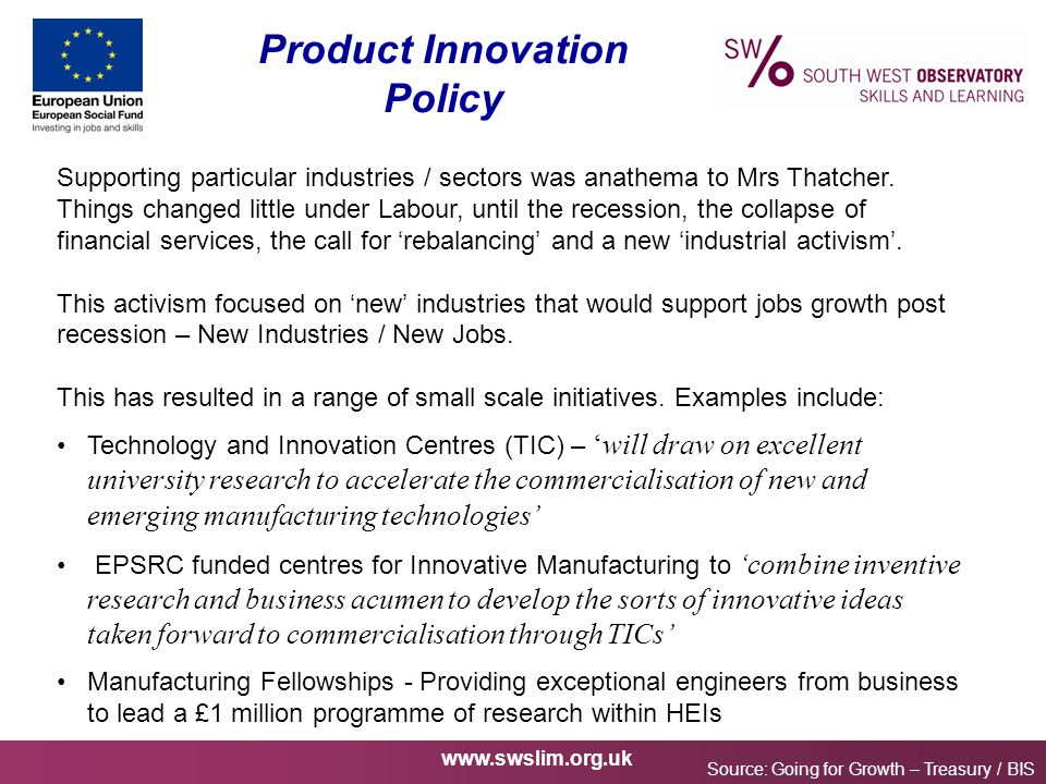 www.swslim.org.uk Product Innovation Policy Source: Going for Growth – Treasury / BIS Supporting particular industries / sectors was anathema to Mrs T