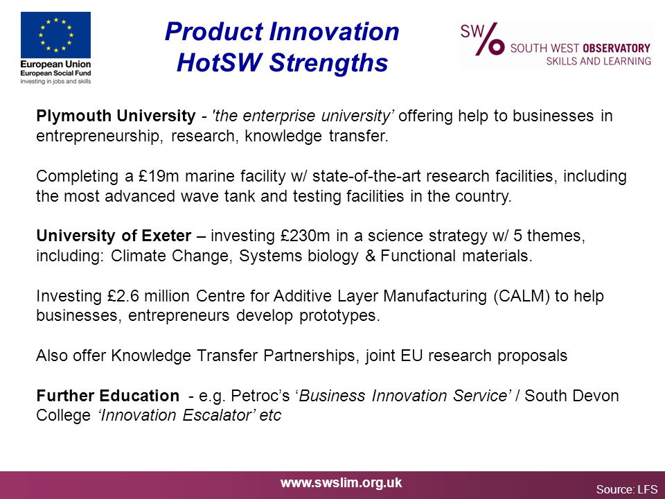 www.swslim.org.uk Product Innovation HotSW Strengths Source: LFS Plymouth University - 'the enterprise university' offering help to businesses in entr