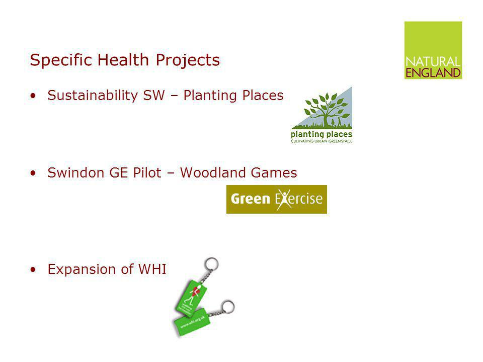 Specific Health Projects Sustainability SW – Planting Places Swindon GE Pilot – Woodland Games Expansion of WHI