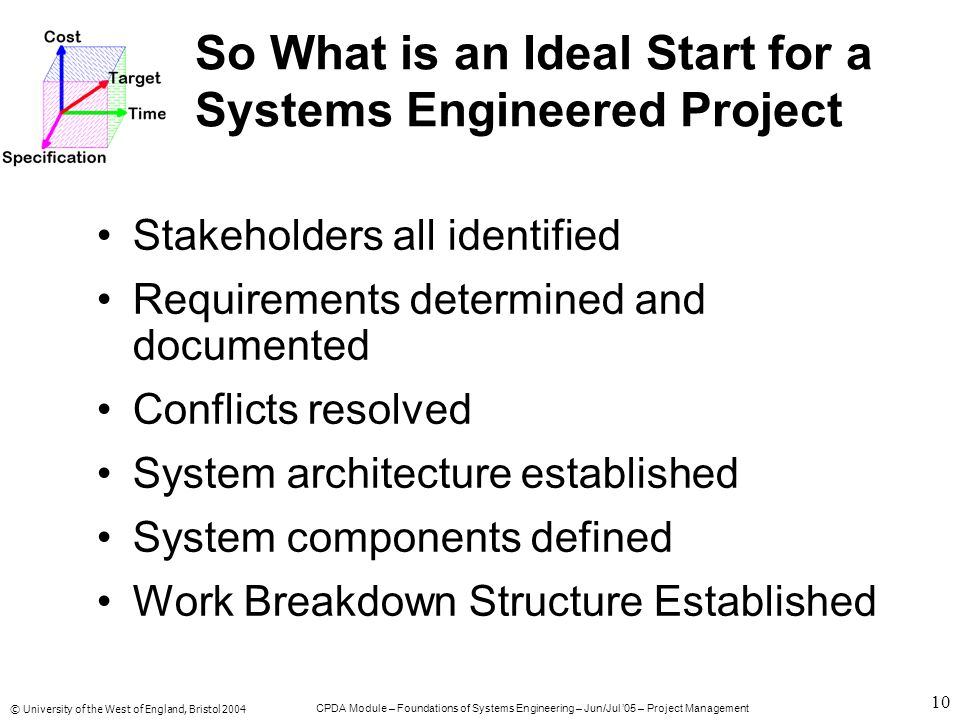 © University of the West of England, Bristol 2004 CPDA Module – Foundations of Systems Engineering – Jun/Jul '05 – Project Management 10 So What is an Ideal Start for a Systems Engineered Project Stakeholders all identified Requirements determined and documented Conflicts resolved System architecture established System components defined Work Breakdown Structure Established